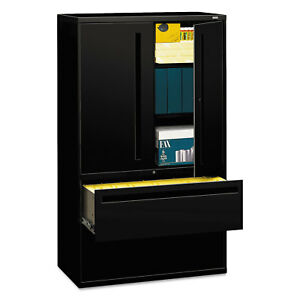 Hon 700 Series Lateral File W storage Cabinet 42w X 19 1 4d Black 795lsp
