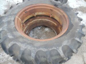 Ford 8n Farm Tractor 12 4x28 Rear Tires And Rims 90 Tread Left