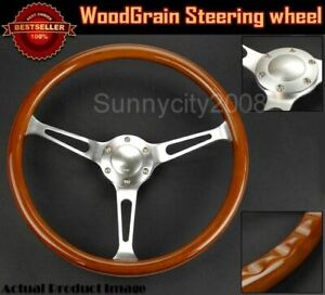 Limited 14 5 Dia 3 Spokes 2 Deep Classic Finger Grip Woodgrain Steering Wheel