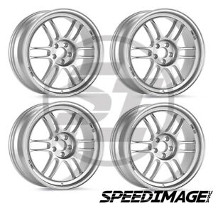 4x Enkei Rpf1 18x9 5 15 Offset 5x114 3 Silver 73mm Bore Racing Set Of 4 Wheels