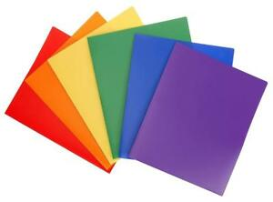 Stemsfx Heavy Duty Plastic 2 Pocket Folder assorted Colors Pack Of 6 For