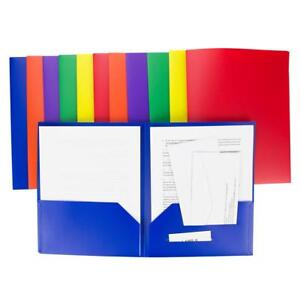 2 Pocket Folders Heavy Duty Plastic Set Of 12 Assorted Colors primary