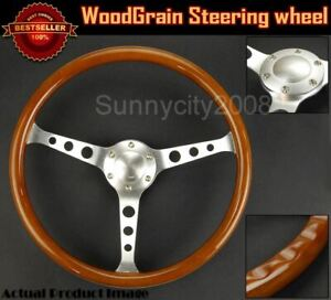 14 5 Finger Grip Woodgrain Steering Wheel Horn Button W Hub For Toyota Honda