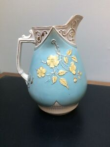 Antique 12 Wash Pitcher Jug No Bowl Basin Turquoise Gold Raised Floral