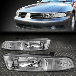 For 99 03 Mitsubishi Galant Pair Chrome Housing Clear Corner Headlight Lamps Set