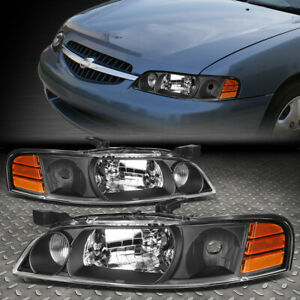 For 00 01 Nissan Altima Black Housing Amber Corner Headlight Replacement Lamps