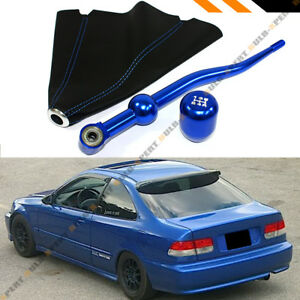 For 88 00 Honda Civic Dual Short Shifter Blue Type R Shift Knob Leather Boot