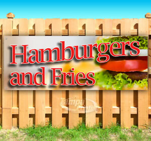 Hamburgers And Fries Advertising Vinyl Banner Flag Sign Many Sizes Usa