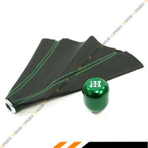 M10 X 1 5 Type R Style Green 5 Speed Gear Knob Leather Shift Boot For Honda