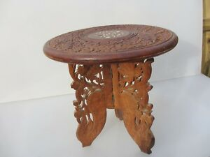 Small Carved Wooden Table Moroccan Planter Stand Indian Holder Floral 12 W