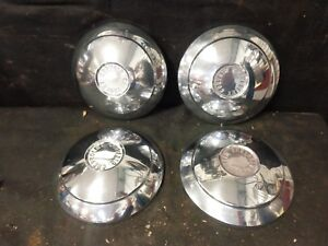 1960 1961 Chevrolet Corvair 9 5 8 Factory Stainless Dog Dish Hub Caps 2 Pairs