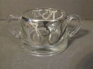 Vintage Silver Overlay Glass Open Sugar Bowl