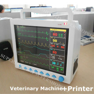 Vet Icu Ccu Patient Monitor Veterinary Nibp Ecg Spo2 Temp Resp Pr Printer Fda Ce