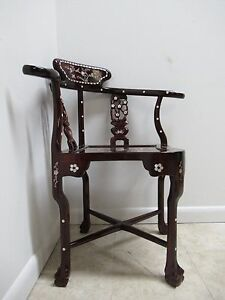 Vintage Asian Chinoiserie Mother Of Pearl Inlay Living Room Arm Chair B