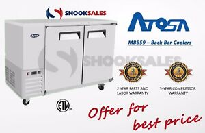 Atosa Mbb59 59 Commercial Back Bar Cooler Stainless Steel Exterior