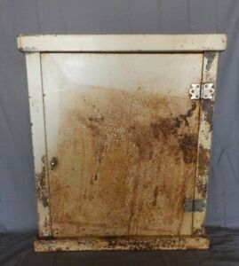 Large Antique Metal Surface Mount Medicine Cabinet Chest Old Vtg 281 18p