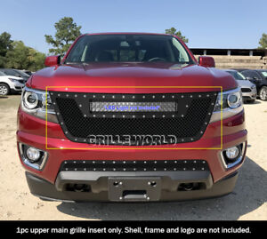 Fits 2015 2019 Chevy Colorado Stainless Steel Black Mesh Rivet Grille W Cut Out