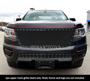 For 2015 2019 Chevy Colorado Stainless Steel Black Mesh Rivet Grille