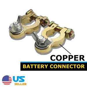 2pcs Marine Battery Marine Terminal Connector Copper Positive Negative Top Post