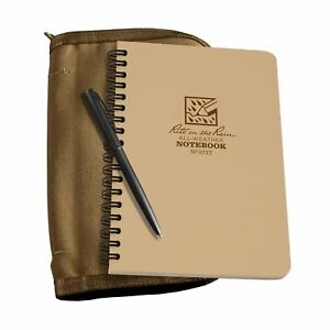 Rite In The Rain All weather Side Spiral Kit Tan Cordura Fabric Cover 4 5 8