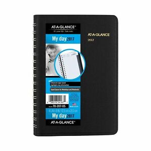 At a glance Daily Appointment Book Planner 2017 Wirebound 4 7 8 X 8 Bla