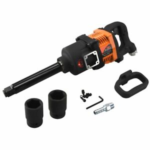 Airluxe Long Shank Air Impact Gun Wrench 1 Dr 1900 Ft lb Torque W 2 Sockets