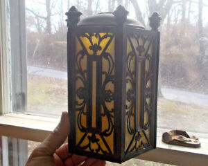 Antique 1920s Art Deco Brass Porch Light Shade 6 Original Slag Glass Panels
