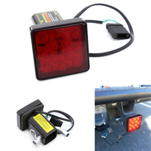 2 Red 12 Led Super Bright Brake Light Trailer Hitch Cover For Towing