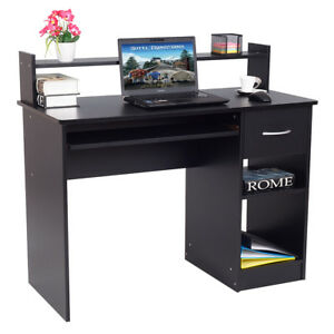 Modern Computer Desk Workstation W drawer Shelf Storage Home Office