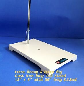 Extra Heavy Sturdy Lab Stand 12 x 8 With 36 Stainless Steel Rod