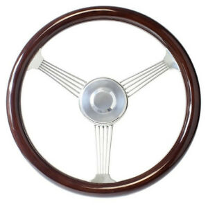 15 Dark Mahogany Banjo Steering Wheel With Stainless Steel Spokes 1969 94 Gm