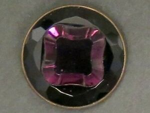 Unusual Purple Faceted Glass Button Set In Metal