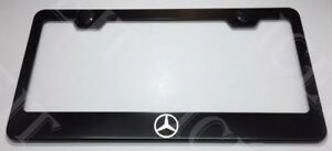 Mercedes Benz Logo Stainless Steel Black License Plate Frame Rust Free W Caps