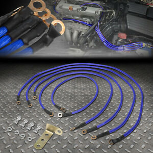 Universal 5 Point Performance Car Grounding Wire Ground Cable System Kit Blue