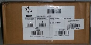 6 Rolls Zebra Direct Thermal Labels Z select 4000d 2 Inch X Continuous
