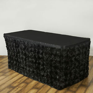 17 Black Satin Roses Table Skirt Tradeshow Wedding Party Catering Supplies