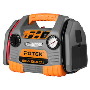 Potek Car Jump Starter With 150 Psi Tire Inflator Air Compressor 1000 Peak