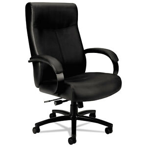 Basyx Vl680 Series Big Tall Leather Chair Supports Up To 450 Lbs Black