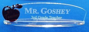 Personalized 250 Acrylic Glass Name Plate Bar Desk Teacher Gift Free Shipping