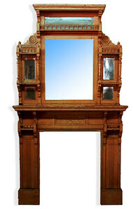 Victorian Fireplace Mantle Over Mirror C 1875 7265