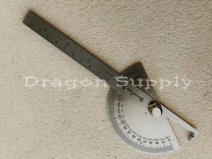 New Sae Stainless Steel Rotary Protractor Angle Rule Gauge Machinist Tool