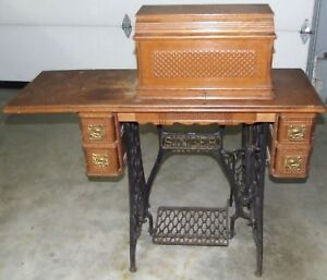 Antique 1895 Singer Treadle Sphinx Design No 27 Sewing Machine W Cabinet Base