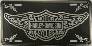 Harley Davidson Motorcycles Filigree Aluminum Metal License Plate Sign Tag