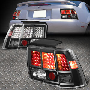 For 99 04 Ford Mustang Pair Diamond Cut Led Look Altezza Tail Light Lamps Black