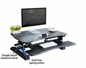 Zeal Height Adjustable Sit To Stand Riser Laptop Table Workstation Computer Desk