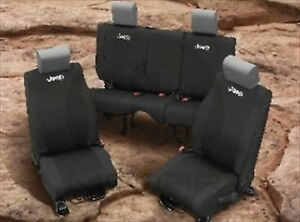 2013 2017 Jeep Wrangler Black Front Rear Seat Covers Mopar Genuine Oem Brand New