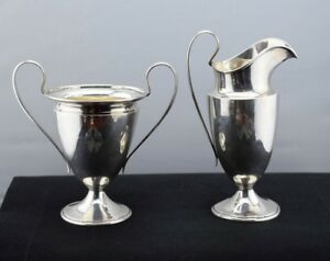 Wendell Mfg Co Sterling Silver Cream And Sugar Bowl Set Pattern 7846