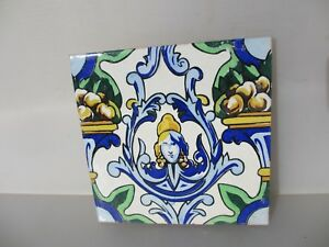 Large Vintage Spanish Ceramic Tile Old French Empire Fruit Gilt Leaf Goddess 8