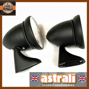 Pair Oe Tex Fitting Adjustable Door Bullet Torpedo Mirrors Black For Classic Car