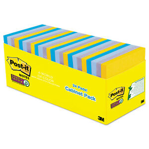Post it Notes Super Sticky Pads In New York Colors Notes 3 X 3 70 sheet 24 pack